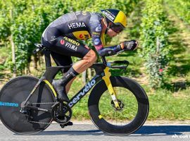 Wout Van Aert (Jumbo-Visma) dominated the time trial at Stage 20 of the Tour de France for his second stage win this year. (Image: Getty)