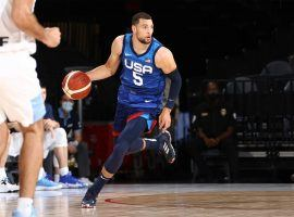 Zach LaVine for Team USA during an exhibition game against Argentina at the Mandalay Bay in Las Vegas. (Image: Getty)