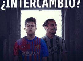 Barcelona are trying to sign Juve's Dybala and offer Griezmann in return. (Image: Twitter/365ScoresApp)