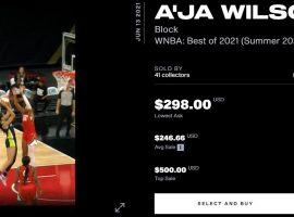 NBA Top Shot released its first WNBA NFT moment on Thursday, as A'Ja Wilson moments began dropping to new members of the site. (Image: NBA Top Shot)