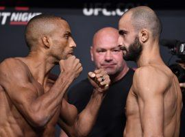 Edson Barboza (left) will take on rising featherweight contender Giga Chikadze (right) in the main event of UFC on ESPN 30 this Saturday night. (Image: Twitter/UFC)