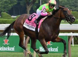 Luis Saez and Bella Sofia set the curve in the Test Stakes, winning the Grade 1 by 4 1/4 lengths on a record-handle Whitney Day card at Saratoga. (Image: Coglianese Photos)