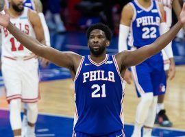 Joel Embiid from the Philadelphia 76ers celebrates a victory over the Chicago Bulls last season. (Image: Bill Streicher/USA Today Sports)