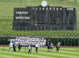 The New York Yankees take a group photo before the first-ever Field of Dreams Game against the Chicago White Sox in Dyersville, Iowa. (Image: Getty)