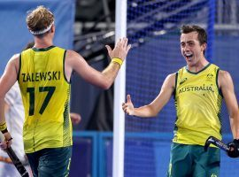 Australia will try to win its first men's field hockey gold since 2004 when it battles Belgium in the gold medal match at the Tokyo Olympics. (Image: Alexander Hassenstein/Getty)