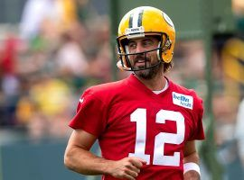 Aaron Rodgers from the Green Bay Packers during training camp, which will be his last with the team before he parts ways at the end of this season. (Image: Campbell Michel/Getty)