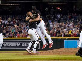 Arizona Diamondbacks catcher Daulton Varsho hugs pitcher Tyler Gilbert after he threw a no-hitter in his first MLB start. (Image: Getty)