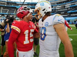 Patrick Mahomes from the Kansas City Chiefs and Justin Herbert of the Los Angeles Chargers has a post-game chat last season on SoFi Stadium in LA last season. (Image: Porter Lambert/Getty)