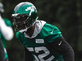 New York Jets linebacker Jarrad Davis in action during a drill at training camp. (Image: Getty)