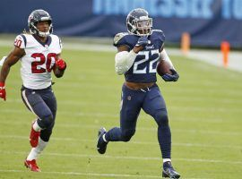Derrick Henry from the Tennessee Titans scampers for a touchdown against the Houston Texans. (Image: Getty)