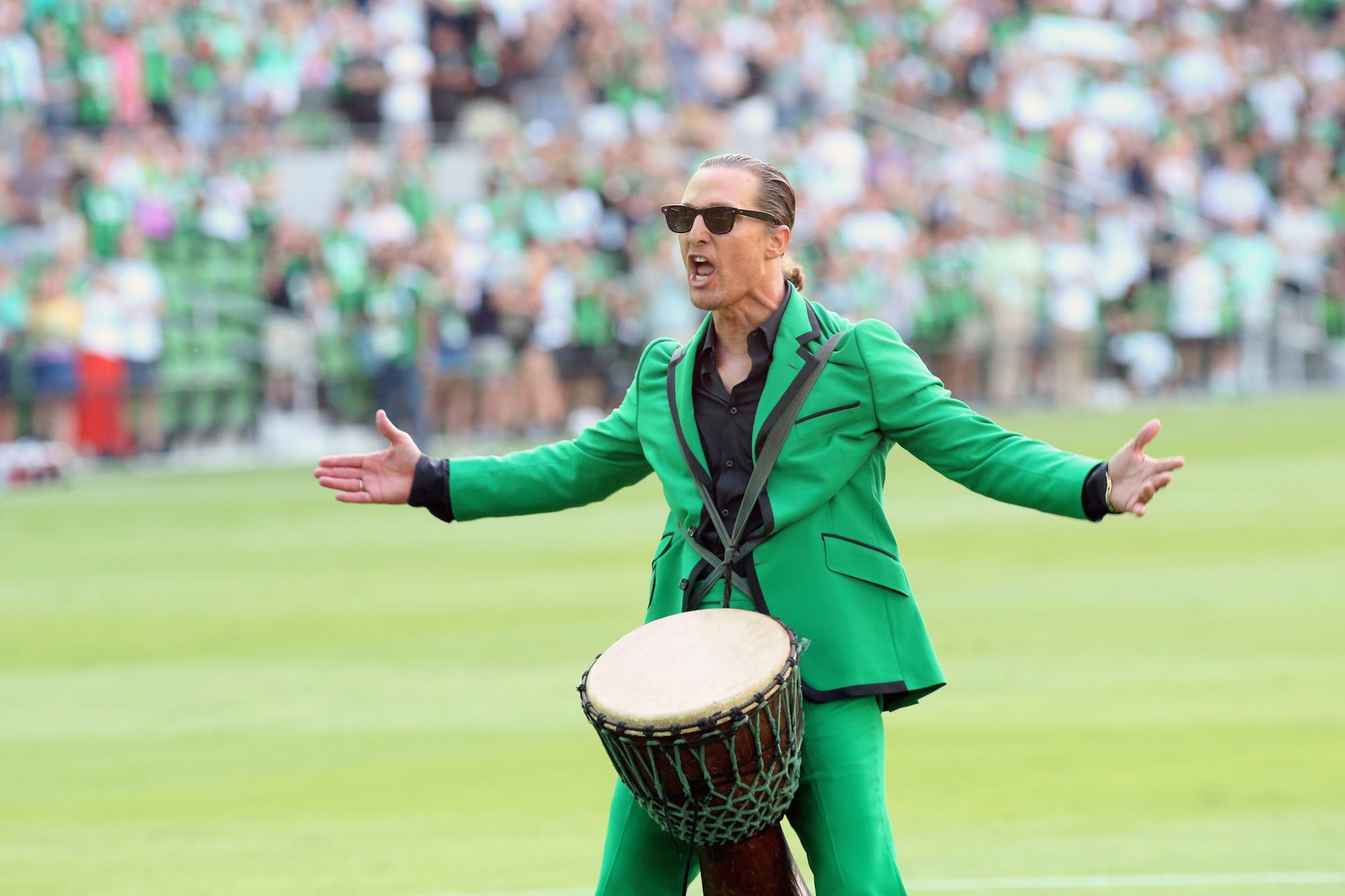 Matthew McConaughey pumps up the crowd before Austin FC match