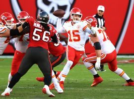 Patrick Mahomes from the Kansas City Chiefs remains cool in the pocket against the Tampa Bay Bucs pass rush. (Image: Mike Ehrmann/Getty)