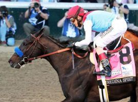 Controversial Kentucky Derby champion Medina Spirit may return to the gate for the first time since May 15 at Saturday's Grade 3 Shared Belief Stakes at Del Mar. (Image: Churchill Downs/Coady Photography)