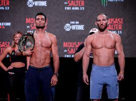 Gegard Mousasi (left) will defend his Bellator middleweight title against John Salter (right) in the main event of Bellator 264 on Friday. (Image: Twitter/Bellator Europe)