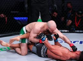 Movlid Khaybulaev (top) will take on Brendan Loughnane in the main event of PFL 9, the final night of the PFL semifinals. (Image: PFL MMA)