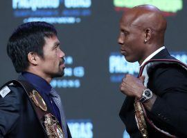 Manny Pacquiao (left) will battle Yordenis Ugas (right) for the WBA welterweight championship on Saturday. (Image: Steve Marcus/Getty)