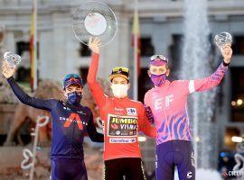 Primoz Roglic (center) on the podium after winning the 2020 Vuelta a Espana. (Image: Getty)
