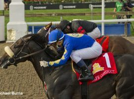 Safe Conduct and Irad Ortiz Jr. turn aside Riptide Rock (back) and David Moran to win the 162nd Queen's Plate at Woodbine Racetrack. The card produced the second-best betting handle in event history. (Image: Michael Burns Photo)