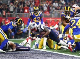 ony Michel dives for a touchdown for the New England Patriots against the LA Rams in Super Bowl 53. (Image: Mark J. Rebalis/USA Today Sports)