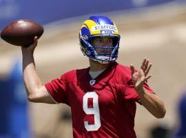 Matthew Stafford drops back in a passing drill during the LA Rams training camp. (Image: Peter Carini/Getty)