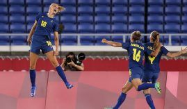 Sweden will try to maintain its perfect record in the Olympic women's soccer tournament when it takes on Canada in the gold medal match. (Image: Getty)