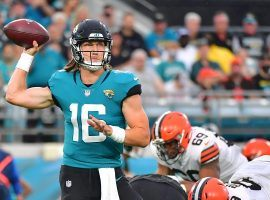 Rookie quarterback Trevor Lawrence from the Jacksonville Jaguars drops back for a pass against the Cleveland Browns in their first preseason game. (Image: Julio Aguilar/Getty)