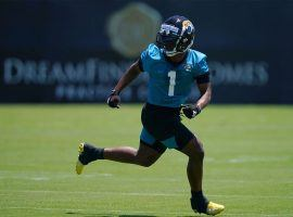 Jacksonville Jaguars rookie Travis Etienne during a drill at training camp. (Image: Jasen Vinlove/USA Today Sports)