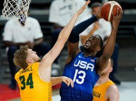 Team USA faces off against undefeated Australia in the semifinals of the men's basketball tournament at the Tokyo Olympics. (Image: John Locher/AP)