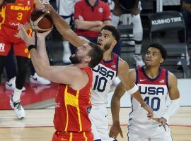 The United States and Spain will battle in yet another critical knockout game when the two meet in the quarterfinals of the men's basketball tournament at the Tokyo Olympics. (Image: John Locher/AP)