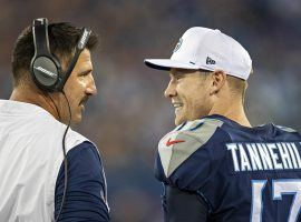 Tennessee Titans head coach Mike Vrabel and quarterback Ryan Tannenhill on the sidelines. (Image: Getty)