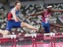 Karsten Warholm (left) and Rai Benjamin (right) are the favorites to take the gold medal in the men's 400m hurdles competition. (Image: Getty)