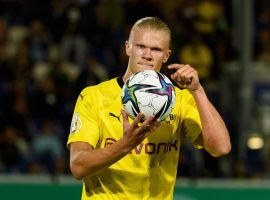 Haaland took the ball home after scoring a hat-trick for Dortmund in the German Cup. (Image: Twitter/BVB)