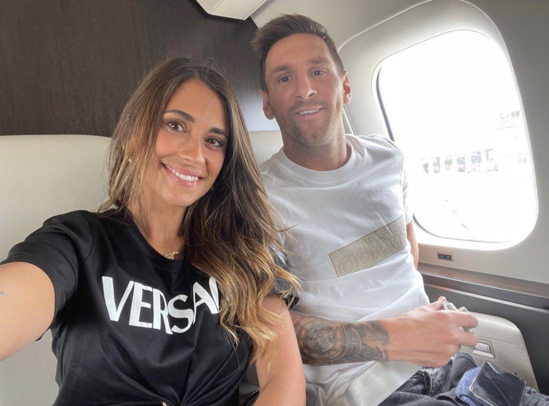 Lionel and Antonela Messi