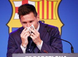 Lionel Messi spoke to the media, confirming through tears his exit from the club after 21 years. (Image:Twitter/FabrizioRomano)