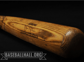 On May 14, 1967 Joe Pepitone loaned Mickey Mantle his bat. Mantle clocked  his 500th homerun with the bat. A lawsuit may finally dtermine the bat's true owner. (Image: Baseball Hall of Fame)