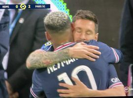 Against Reims, Messi came on as a substitute after 65 minutes, replacing Neymar. (Image: BT Sport)