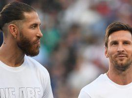 Fierce rivals in the Spanish La Liga, Sergio Ramos and Lionel Messi will play together at PSG this year. (Image: Twitter/PSGinside)