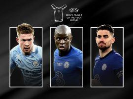 De Bruyne, Kante, and Jorginho are in the run for UEFA's Men's Player of the Year Award. (Image: uefa.com)
