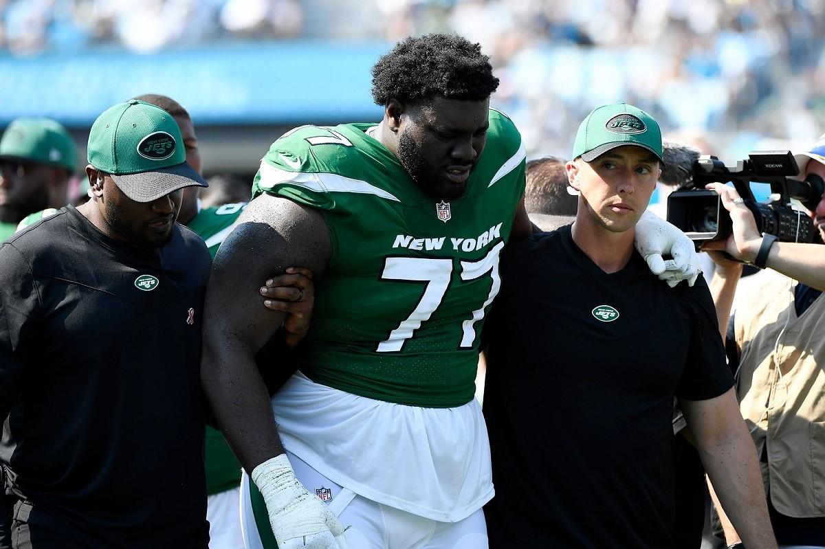 New York Jets LOLJets Mekhi Becton cedera lutut
