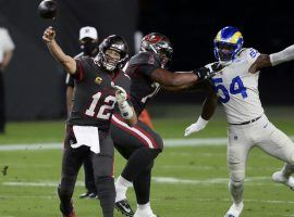 Tampa Bay Bucs QB Tom Brady in the pocket during a loss against the Los Angeles Rams, but the Bucs are the new favorite to win the Super Bowl. (Image: Jason Behnken/AP)