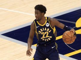 Caris LeVert from the Indiana Pacers brings the ball up the court during a home game last season. (Image: Getty)