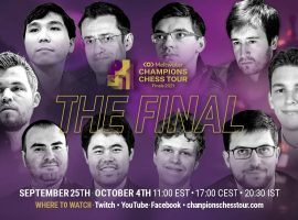 The Champions Chess Tour Final starts on Saturday, with Magnus Carlsen holding a significant advantage over the field to begin play. (Image: Champions Chess Tour)