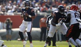 Justin Fields from the Chicago Bears subbing in for injured Andy Dalton against the Cincinnati Bengals in Week 2. (Image: Getty)