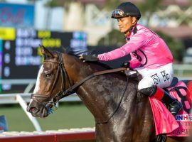 Flashiest and Abel Cedillo rallied from sixth entering the stretch to win the Oceanside Stakes on Del Mar's July 16 opening-day card. He is one of the favorites in Saturday's Grade 2 Del Mar Derby. (Image: Benoit Photo)