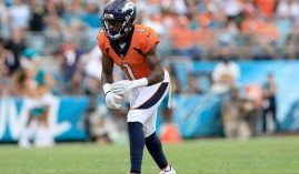 Denver Broncos wide receiver KJ Hamler lines up against the New York Jets prior to his knee injury at Empower Field at Mile High. (Image: Sam Greenwood/Getty)