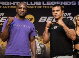 Evander Holyfield (left) will take on former MMA champion Vitor Belfort (right) in the main event of a Triller Fight Club boxing card this Saturday. (Image: Amanda Westcott/Triller Fight Club)