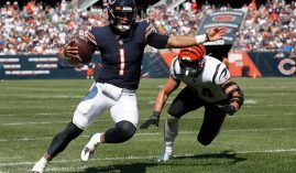 Rookie quarterback Justin Field evades a tackler from the Cincinnati Bengals last weekend, but he gts his first taste as a starting QB in Week 3. (Image: Danielle Noonan/Getty)
