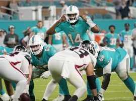 With Tua out, Jacoby Brissett will lead the Dolphins in Week 3. (Image: Palm Beach Post)