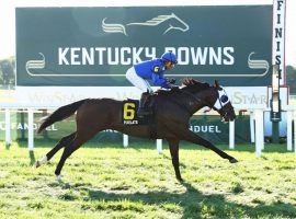 Joel Rosario and Pixelate won Monday's Mint Million at Kentucky Downs. That was one of 13 victories for Rosario this week, breaking the previous meet record of 12. (Image: Coady Photography)