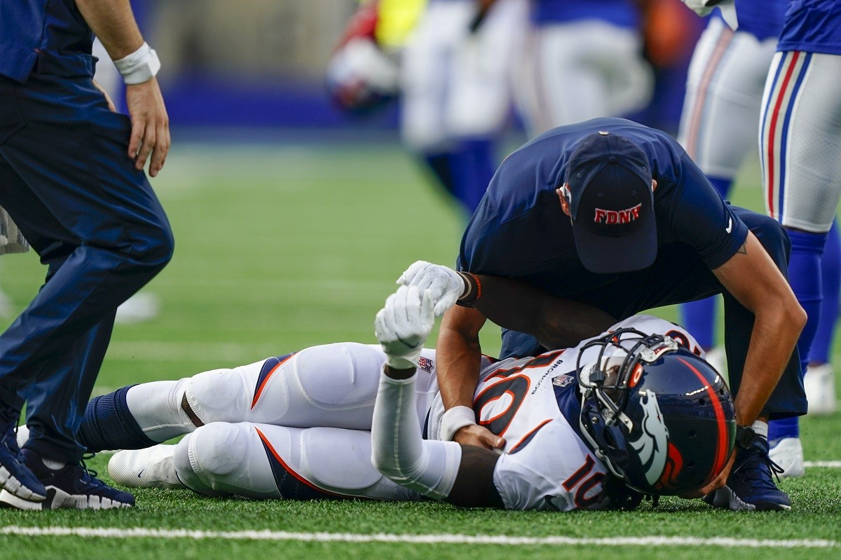 Jerry Jeudy Denver Broncos cedera memperbarui keseleo pergelangan kaki tinggi